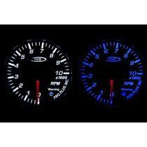 PRO RACING GAUGE 52mm  - Fordulatszám mérő 10000 RPM Kék&FEHÉR